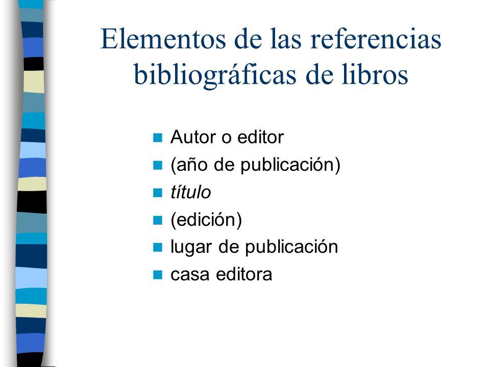 Elementos de las referencias bibliográficas de libros