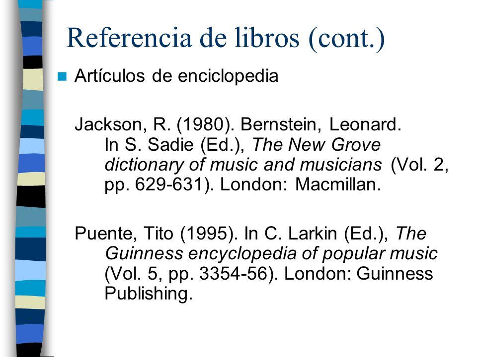 Referencia de libros (cont.)