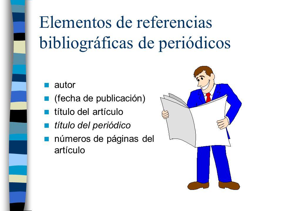Elementos de referencias bibliográficas de periódicos