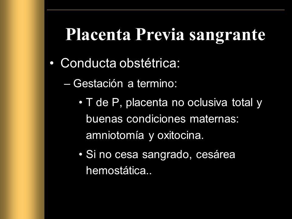 Placenta Previa sangrante