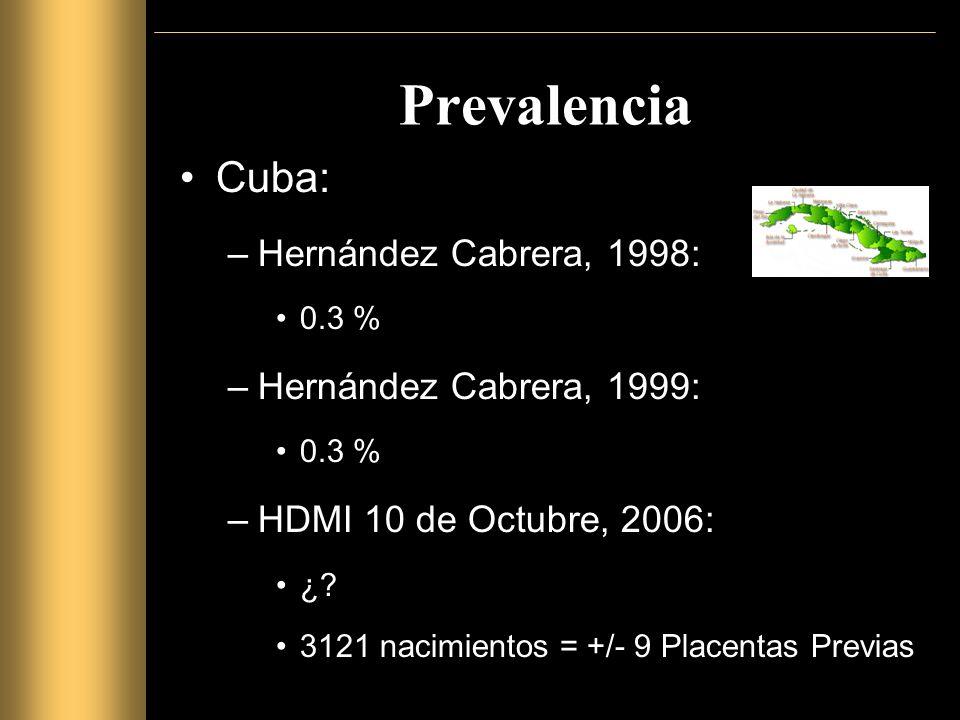 Prevalencia Cuba: Hernández Cabrera, 1998: Hernández Cabrera, 1999: