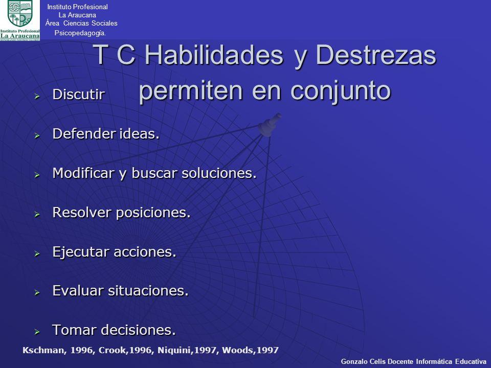 T C Habilidades y Destrezas permiten en conjunto