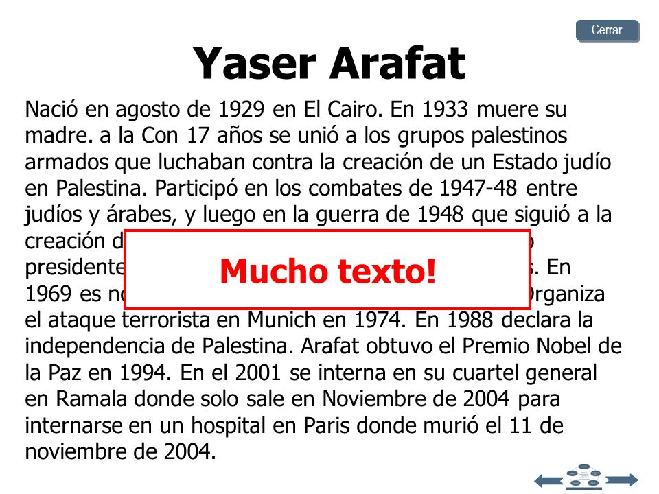 Yaser Arafat Mucho texto!