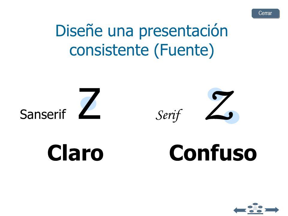 Diseñe una presentación consistente (Fuente)