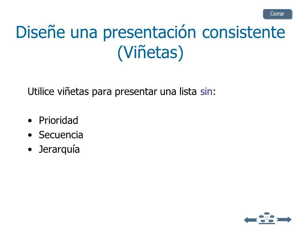 Diseñe una presentación consistente (Viñetas)