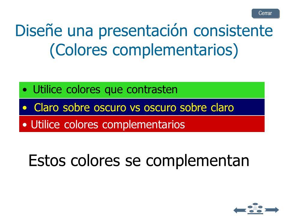 Diseñe una presentación consistente (Colores complementarios)