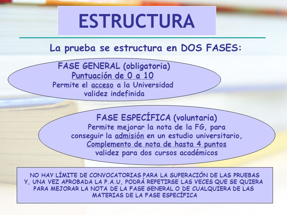 ESTRUCTURA La prueba se estructura en DOS FASES: