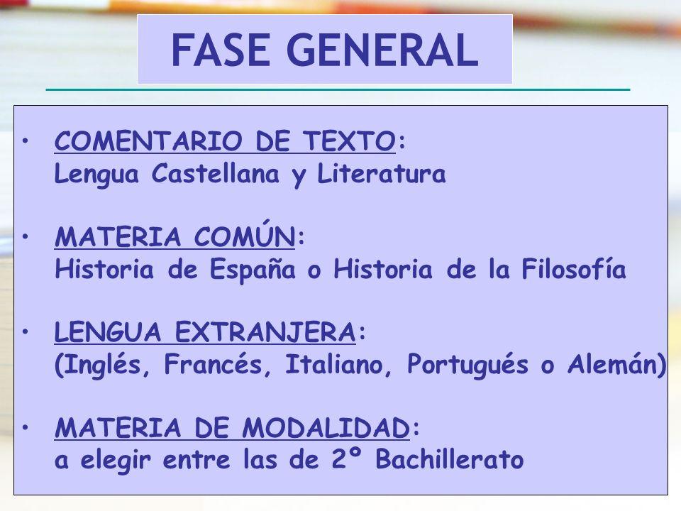 FASE GENERAL COMENTARIO DE TEXTO: Lengua Castellana y Literatura