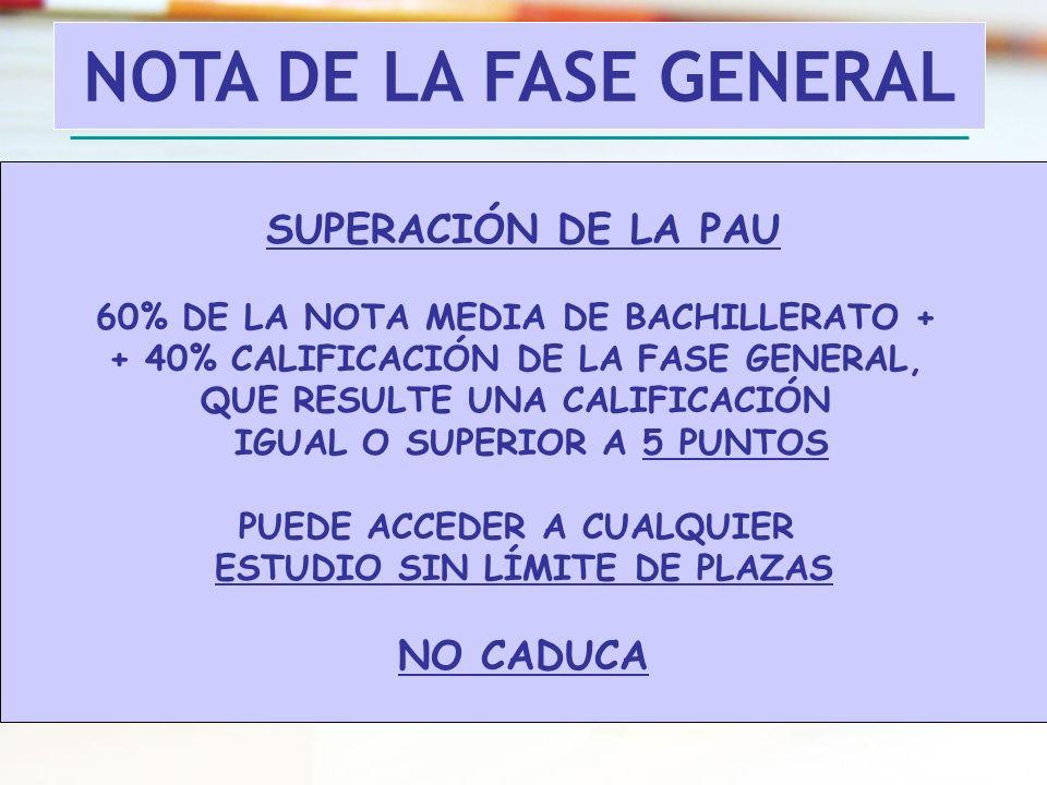 NOTA DE LA FASE GENERAL SUPERACIÓN DE LA PAU NO CADUCA