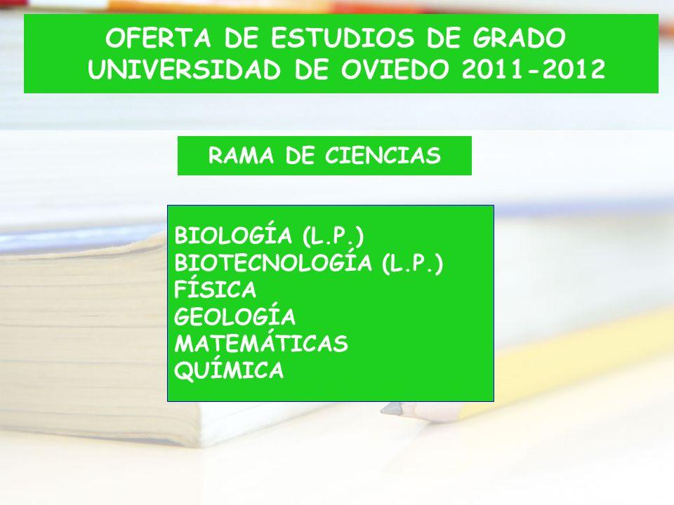 OFERTA DE ESTUDIOS DE GRADO UNIVERSIDAD DE OVIEDO 2011-2012
