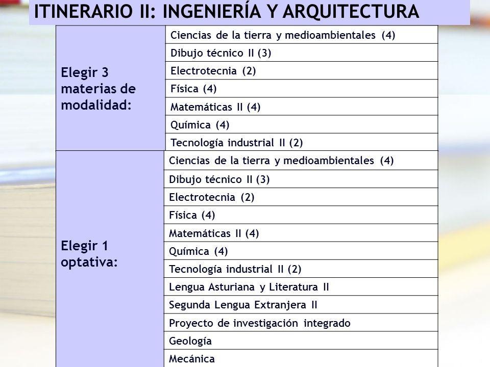 ITINERARIO II: INGENIERÍA Y ARQUITECTURA