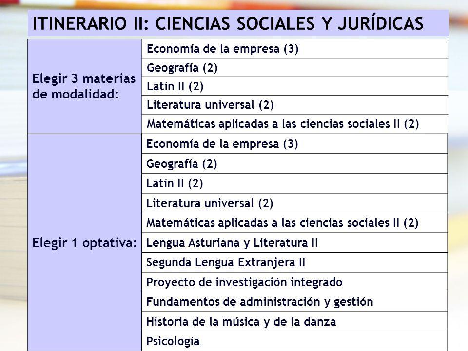 ITINERARIO II: CIENCIAS SOCIALES Y JURÍDICAS