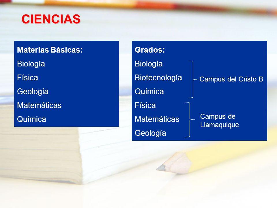 CIENCIAS Materias Básicas: Biología Física Geología Matemáticas
