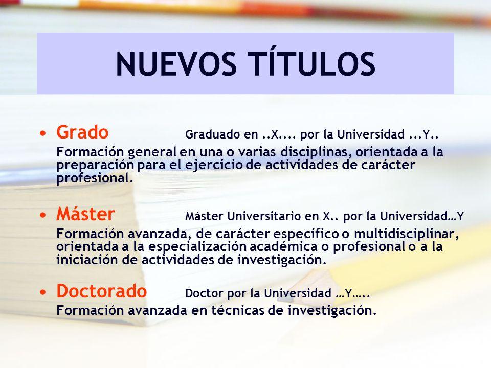 NUEVOS TÍTULOS Grado Graduado en ..X.... por la Universidad ...Y..