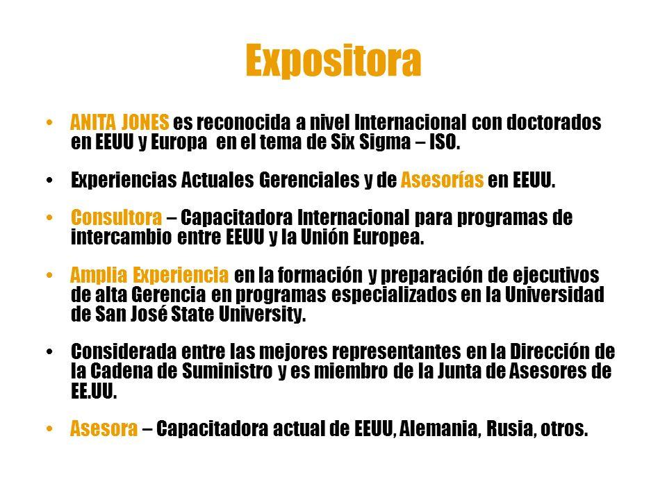 Expositora ANITA JONES es reconocida a nivel Internacional con doctorados en EEUU y Europa en el tema de Six Sigma – ISO.