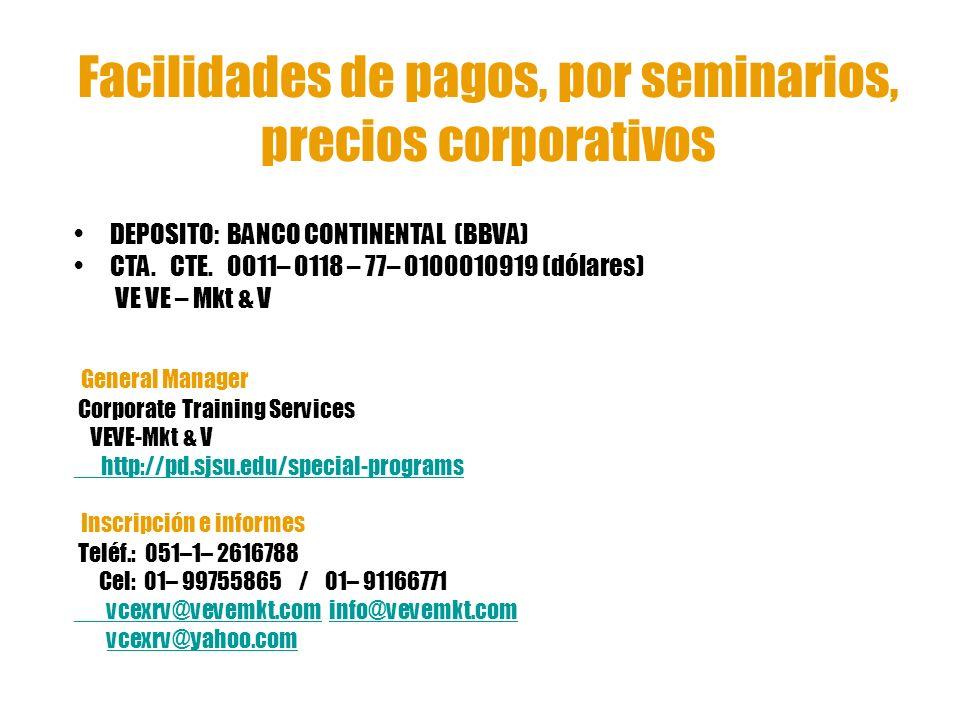 Facilidades de pagos, por seminarios, precios corporativos