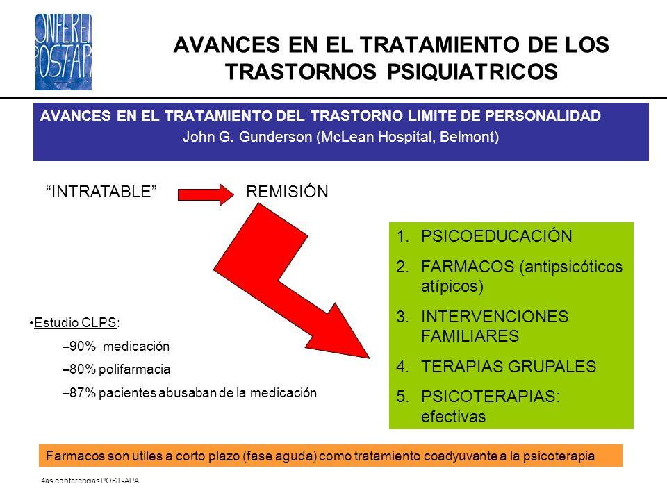 AVANCES EN EL TRATAMIENTO DE LOS TRASTORNOS PSIQUIATRICOS