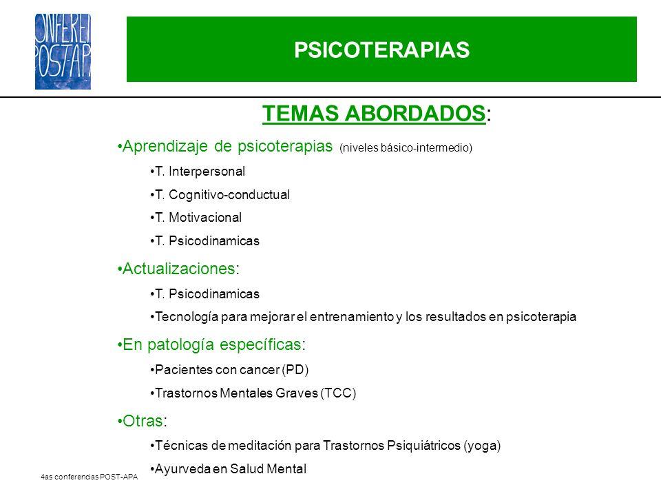 PSICOTERAPIAS TEMAS ABORDADOS: