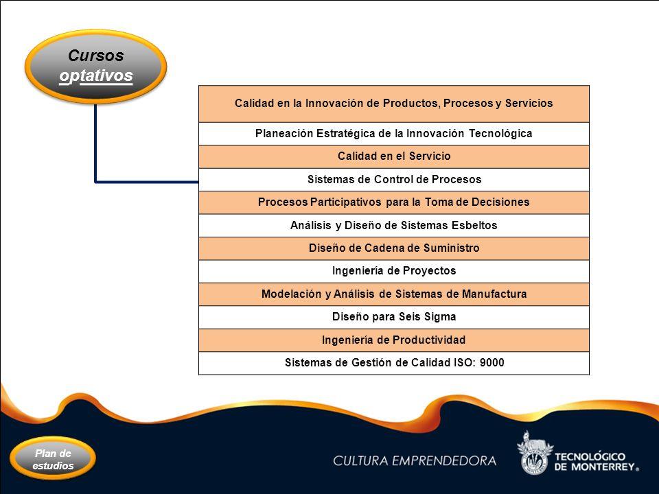 Cursos optativos. Calidad en la Innovación de Productos, Procesos y Servicios. Planeación Estratégica de la Innovación Tecnológica.