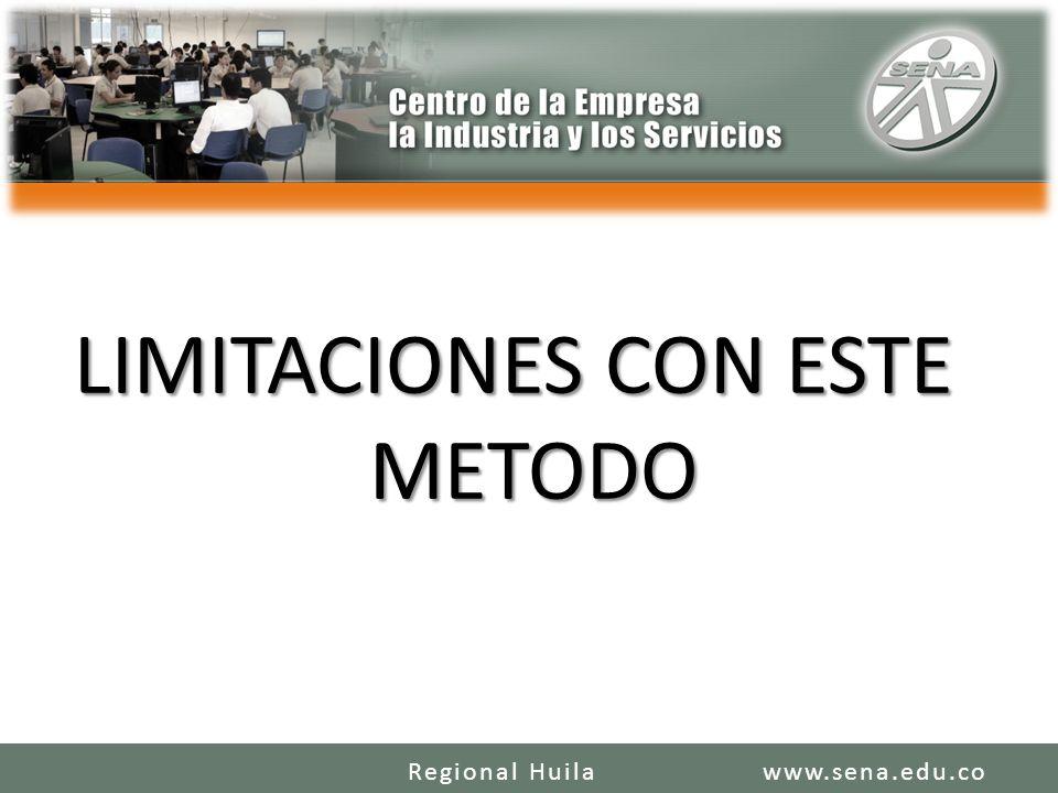LIMITACIONES CON ESTE METODO