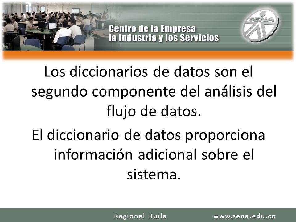 Los diccionarios de datos son el segundo componente del análisis del flujo de datos. El diccionario de datos proporciona información adicional sobre el sistema.