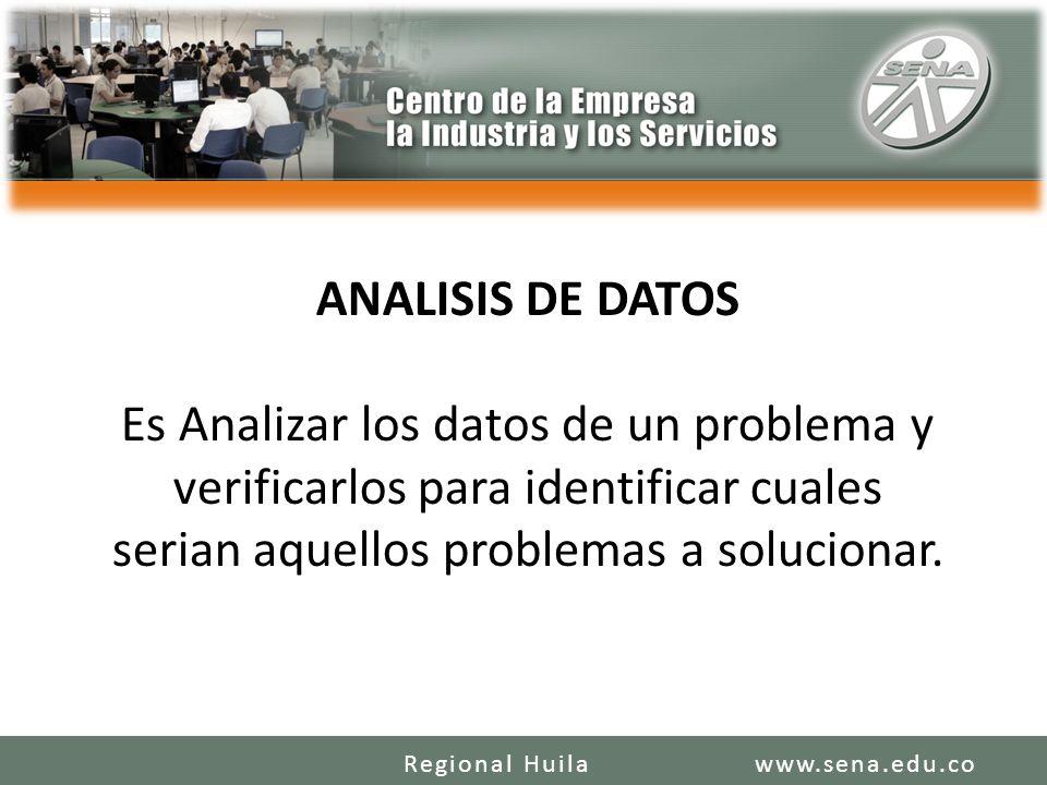 ANALISIS DE DATOS Es Analizar los datos de un problema y verificarlos para identificar cuales serian aquellos problemas a solucionar.