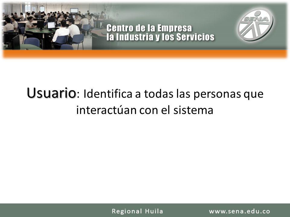 Usuario: Identifica a todas las personas que interactúan con el sistema