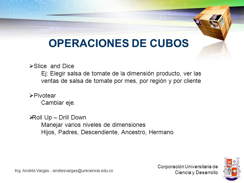 OPERACIONES DE CUBOS Slice and Dice