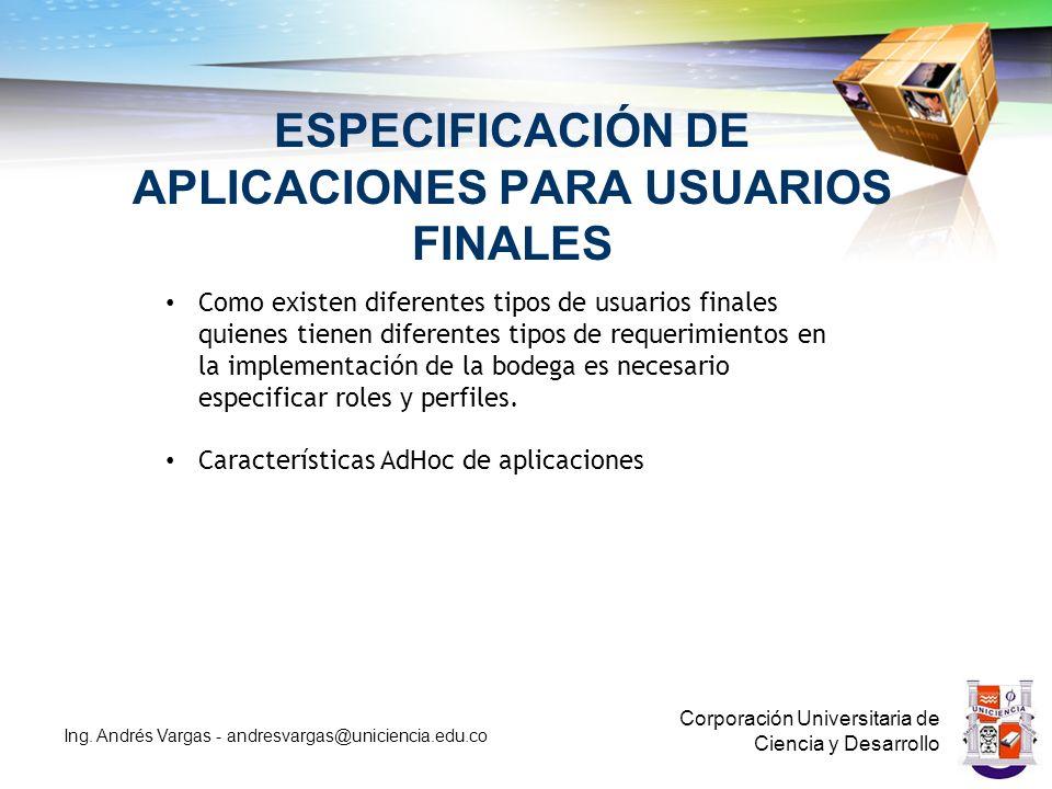 ESPECIFICACIÓN DE APLICACIONES PARA USUARIOS FINALES