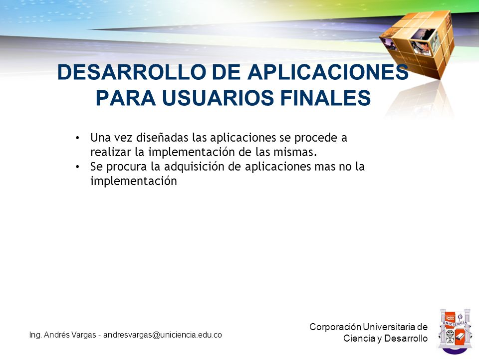 DESARROLLO DE APLICACIONES PARA USUARIOS FINALES