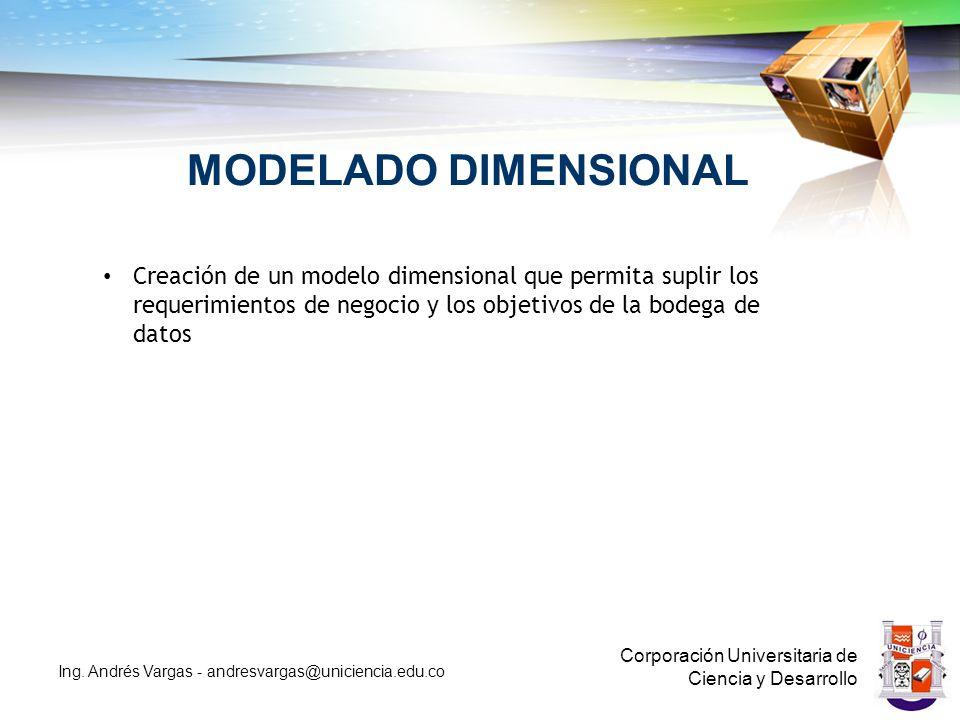 MODELADO DIMENSIONAL Creación de un modelo dimensional que permita suplir los requerimientos de negocio y los objetivos de la bodega de datos.