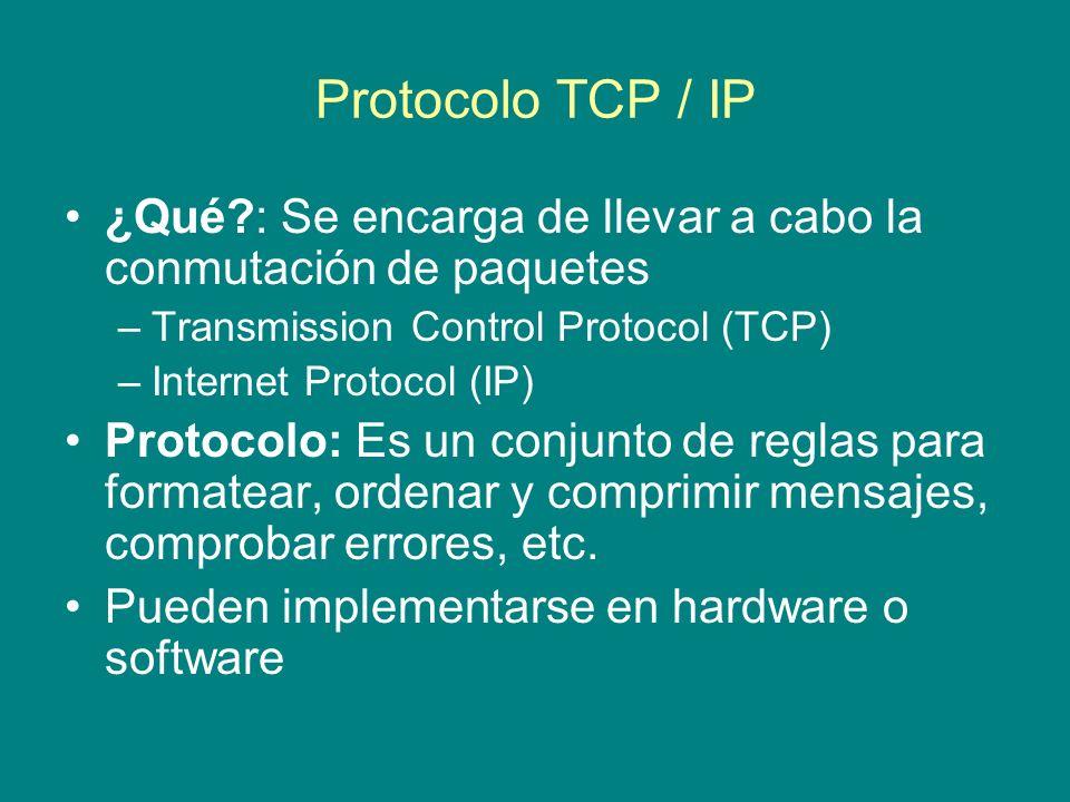 Protocolo TCP / IP ¿Qué : Se encarga de llevar a cabo la conmutación de paquetes. Transmission Control Protocol (TCP)