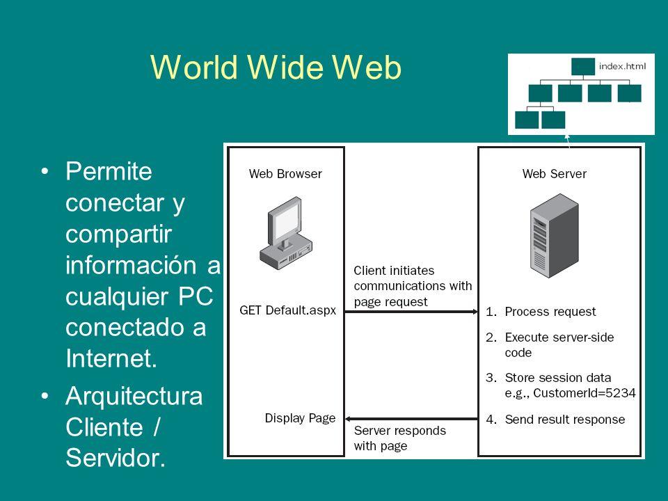 World Wide Web Permite conectar y compartir información a cualquier PC conectado a Internet. Arquitectura Cliente / Servidor.