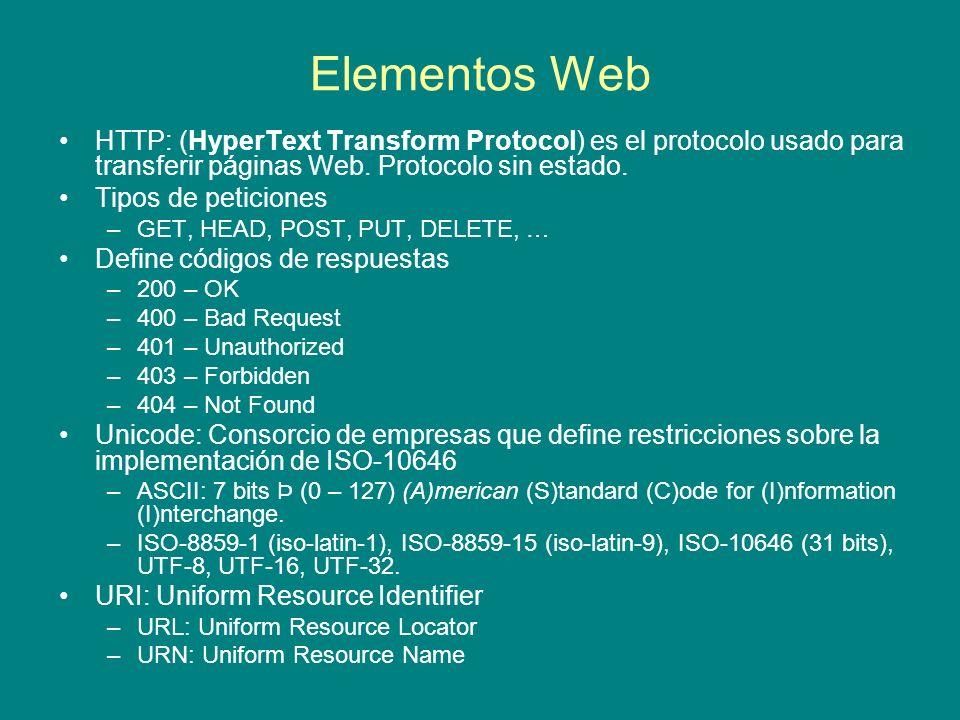Elementos Web HTTP: (HyperText Transform Protocol) es el protocolo usado para transferir páginas Web. Protocolo sin estado.
