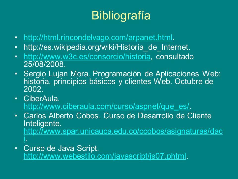 Bibliografía http://html.rincondelvago.com/arpanet.html.