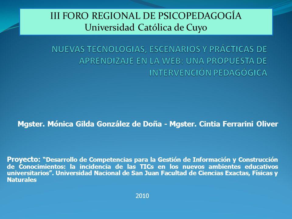 III FORO REGIONAL DE PSICOPEDAGOGÍA Universidad Católica de Cuyo