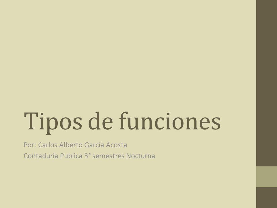 Tipos de funciones Por: Carlos Alberto García Acosta
