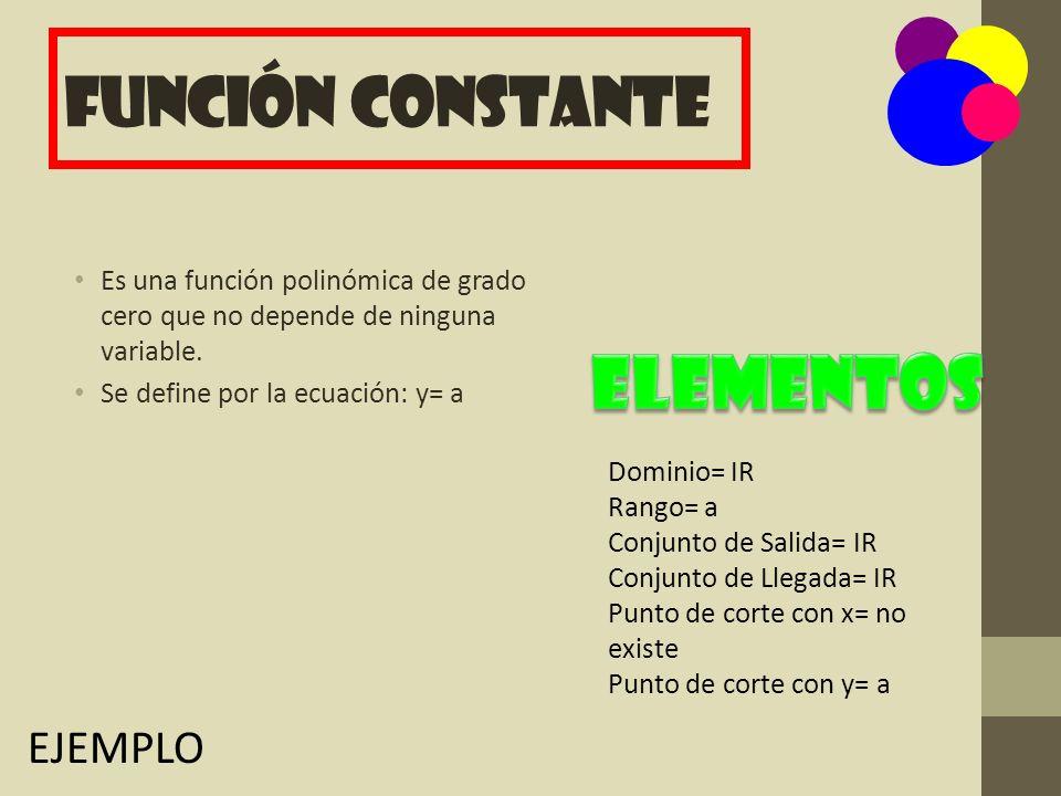 Elementos Función Constante EJEMPLO
