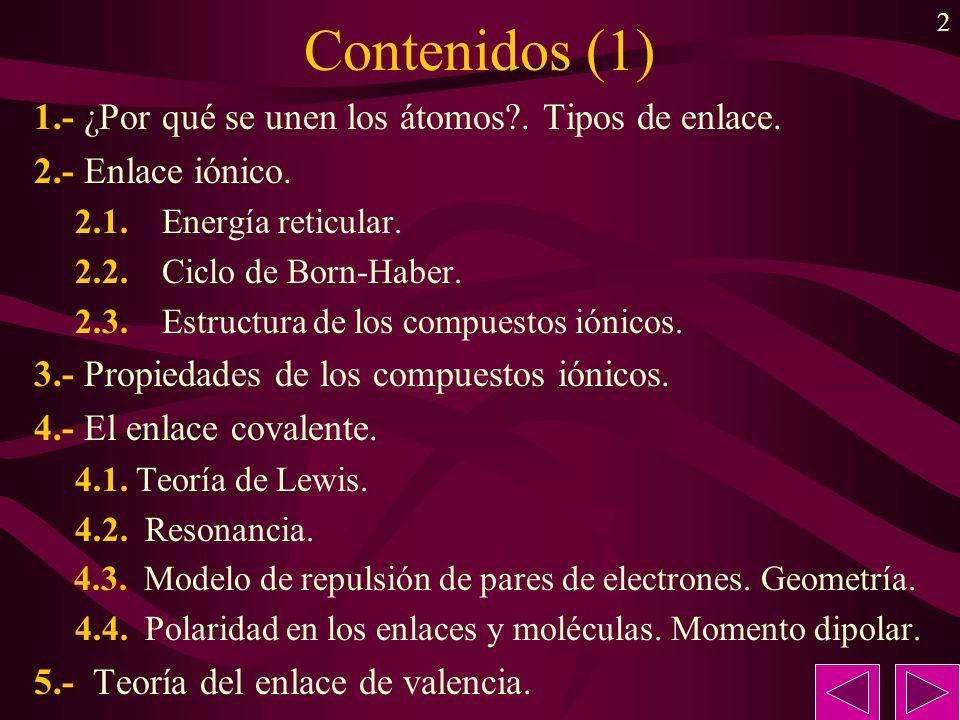 Contenidos (1) 1.- ¿Por qué se unen los átomos . Tipos de enlace.