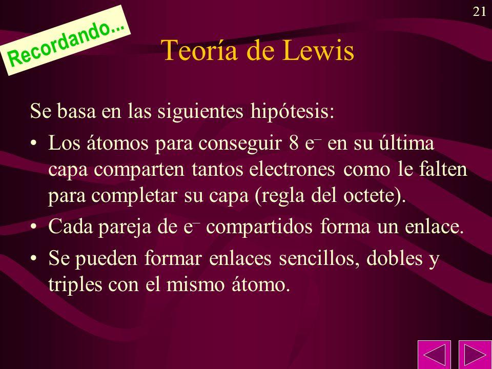 Teoría de Lewis Recordando... Se basa en las siguientes hipótesis: