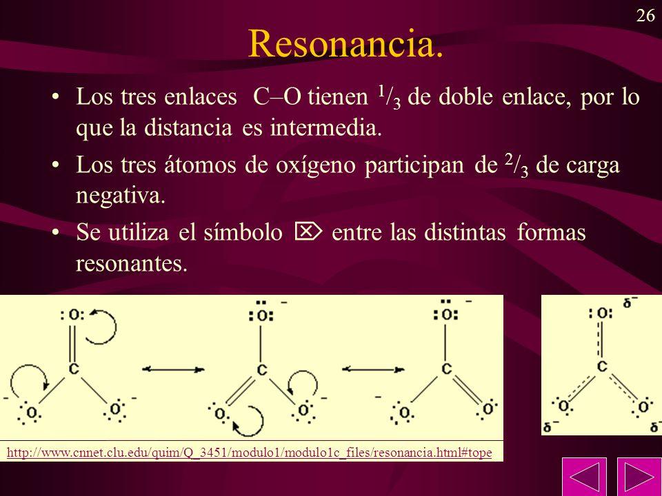 Resonancia. Los tres enlaces C–O tienen 1/3 de doble enlace, por lo que la distancia es intermedia.