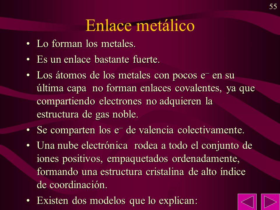Enlace metálico Lo forman los metales. Es un enlace bastante fuerte.