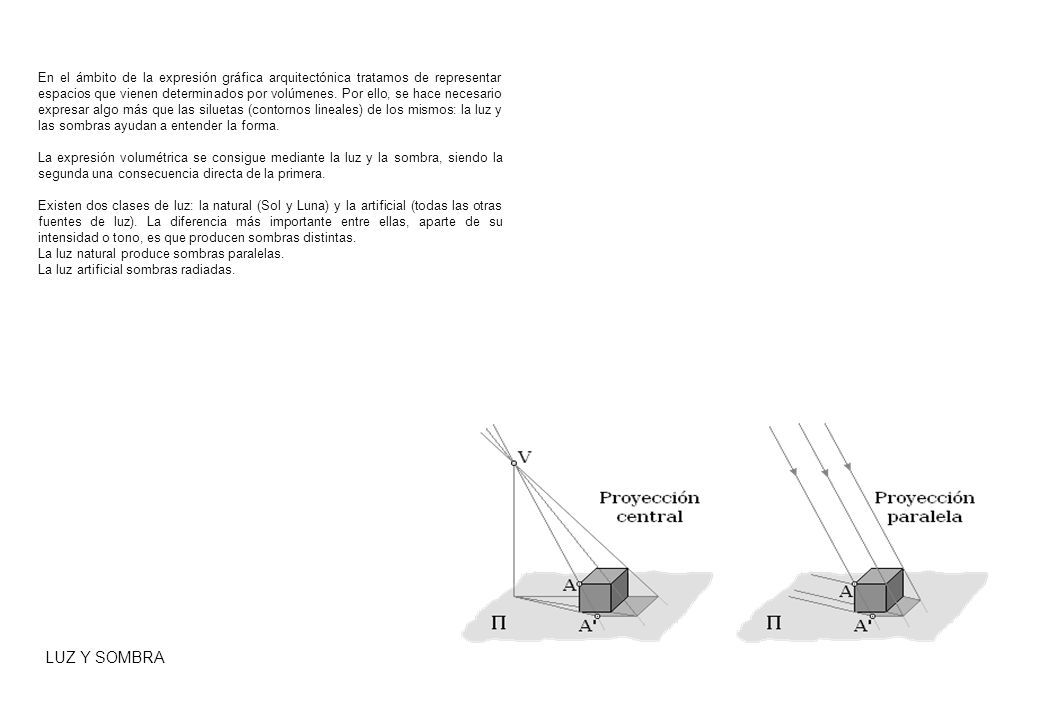 En el ámbito de la expresión gráfica arquitectónica tratamos de representar espacios que vienen determinados por volúmenes. Por ello, se hace necesario expresar algo más que las siluetas (contornos lineales) de los mismos: la luz y las sombras ayudan a entender la forma.