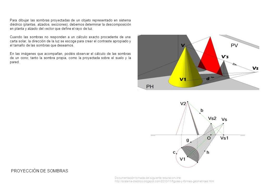 Para dibujar las sombras proyectadas de un objeto representado en sistema diédrico (plantas, alzados, secciones), debemos determinar la descomposición en planta y alzado del vector que define el rayo de luz.