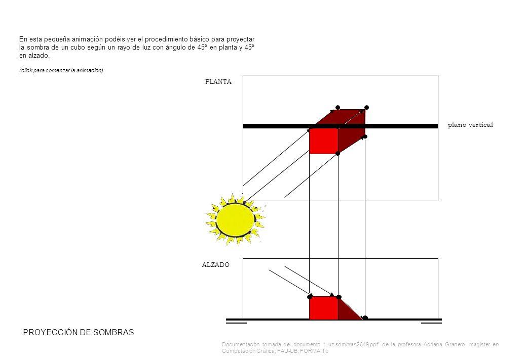 En esta pequeña animación podéis ver el procedimiento básico para proyectar la sombra de un cubo según un rayo de luz con ángulo de 45º en planta y 45º en alzado.