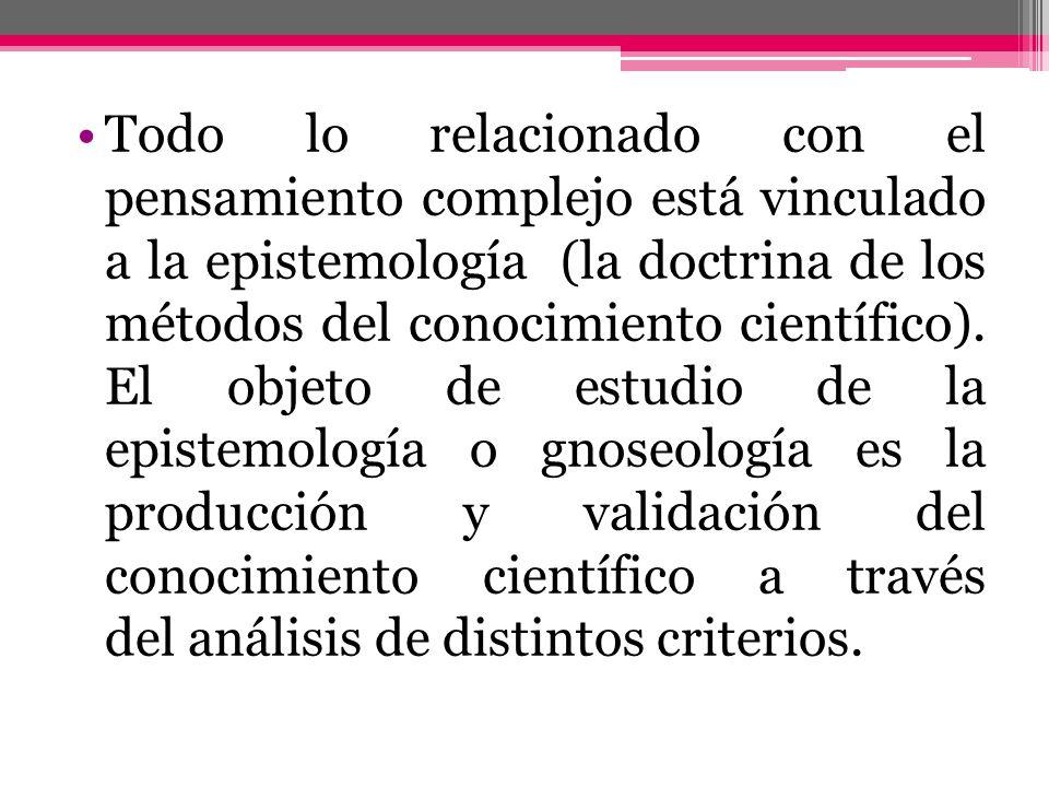 Todo lo relacionado con el pensamiento complejo está vinculado a la epistemología (la doctrina de los métodos del conocimiento científico).