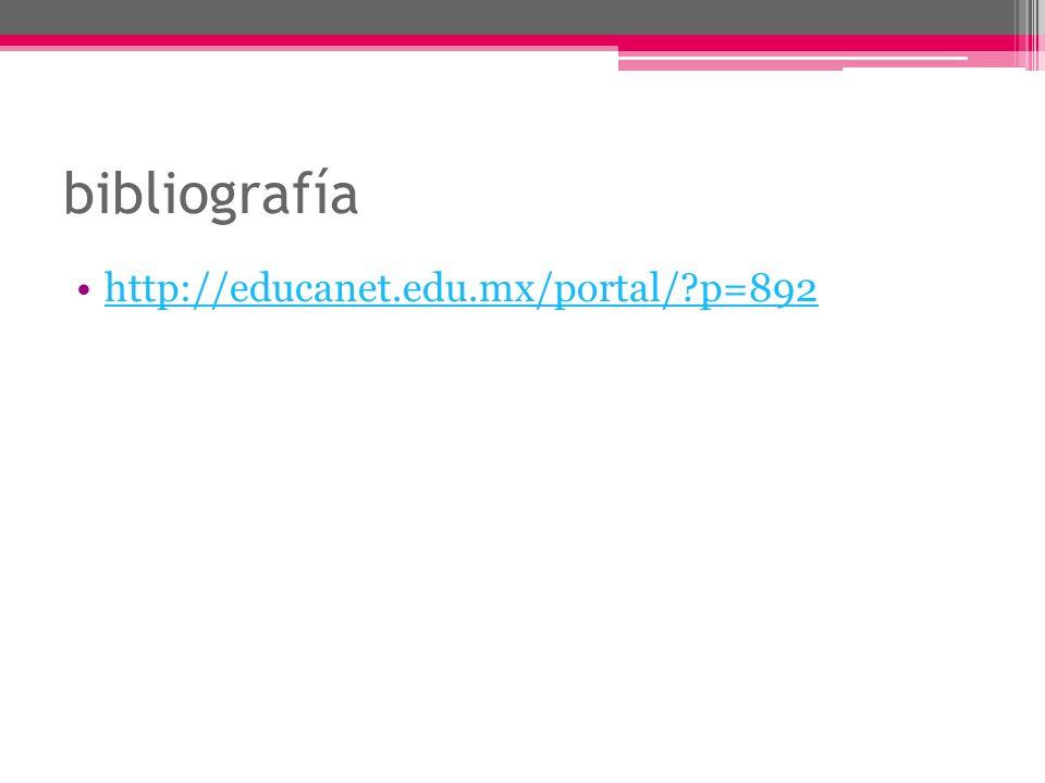 bibliografía http://educanet.edu.mx/portal/ p=892