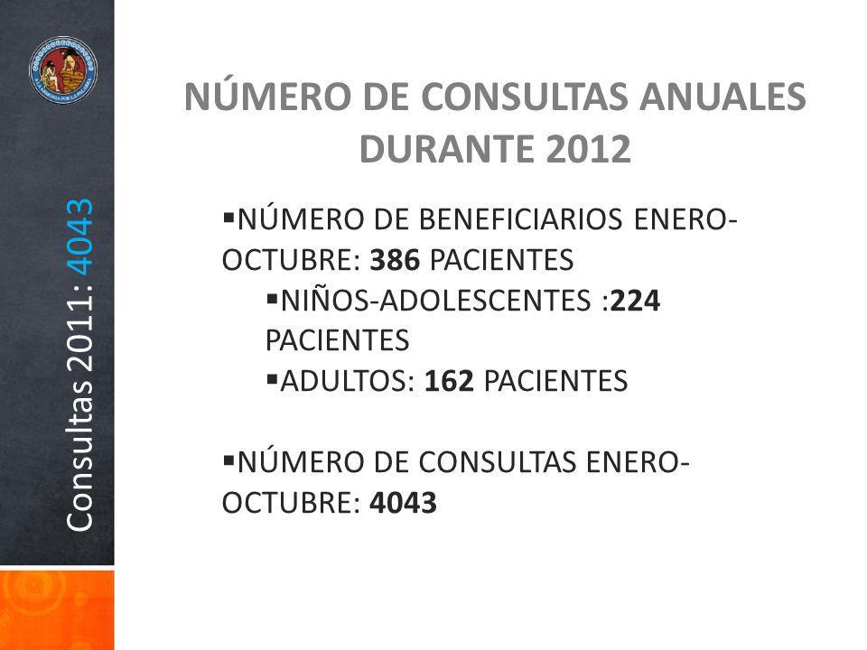 NÚMERO DE CONSULTAS ANUALES DURANTE 2012