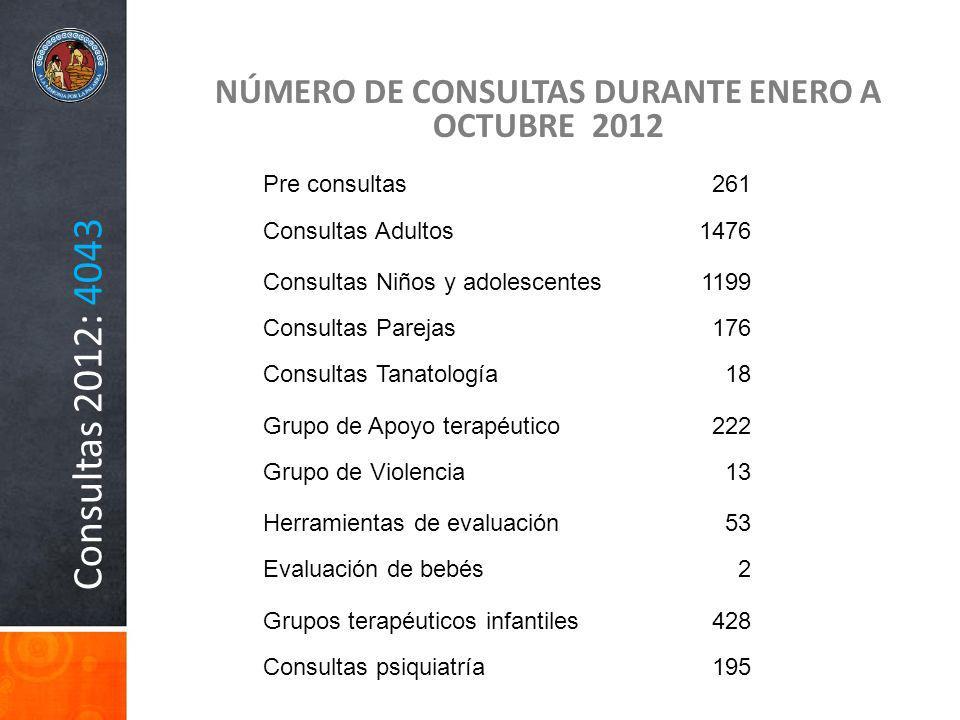 NÚMERO DE CONSULTAS DURANTE ENERO A OCTUBRE 2012