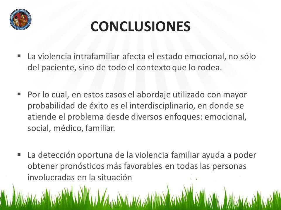 CONCLUSIONES La violencia intrafamiliar afecta el estado emocional, no sólo del paciente, sino de todo el contexto que lo rodea.